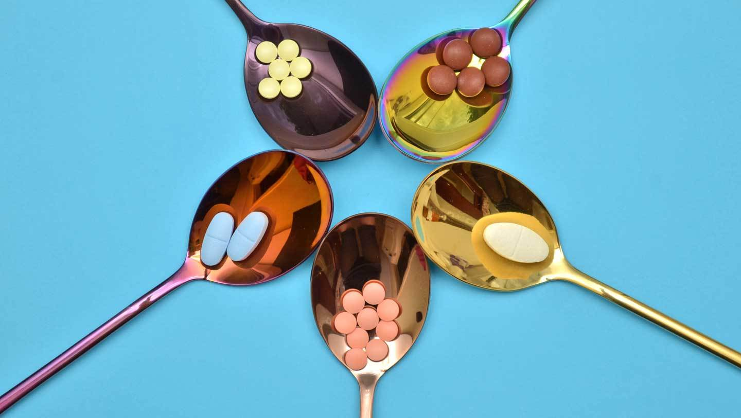 spoons holding various drugs