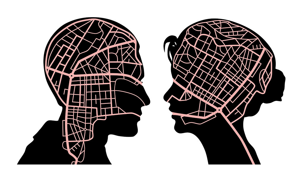 cartoon silhouettes overlaid with different map styles