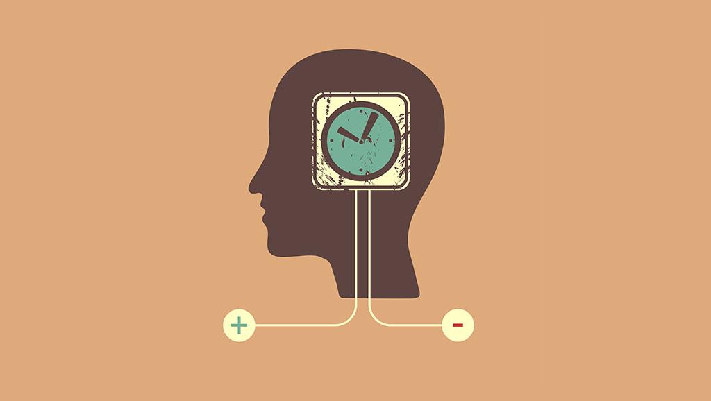 cartoon of clock embedded in head