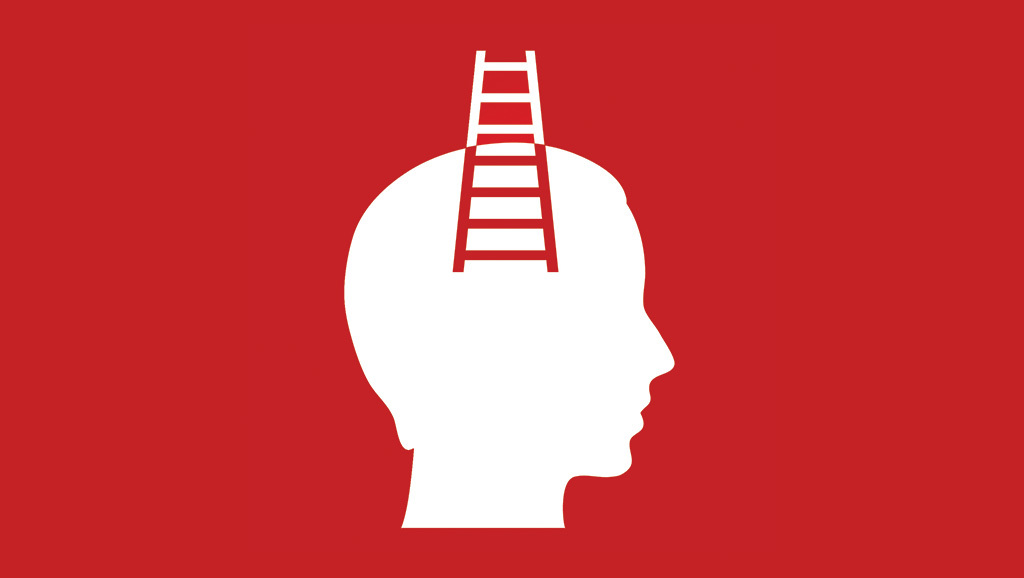 cartoon head with ladder sticking out
