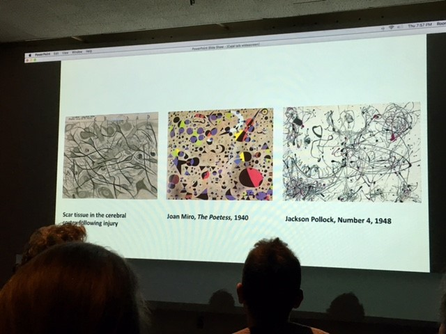 Slide comparing Cajal to Miro and Pollock art