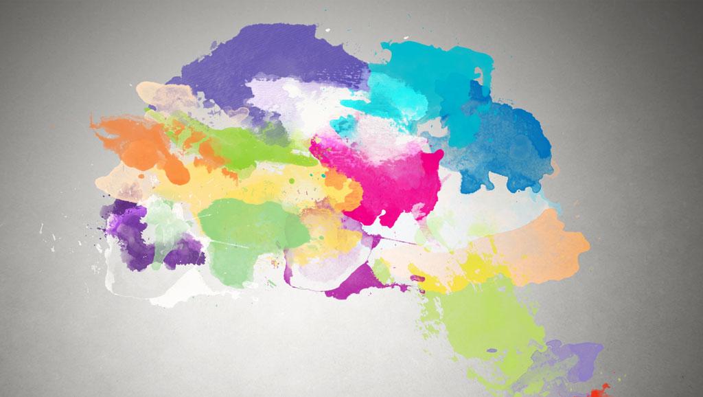 Watercolor effect brain