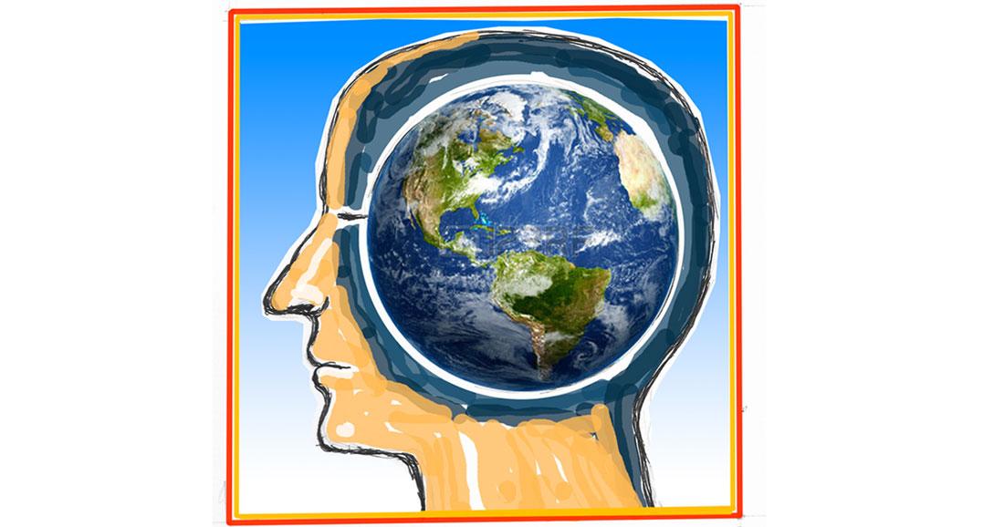 cartoon of globe where brain should be