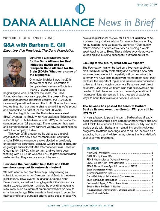 Dana Alliance News-In-Brief Feb 2019 Cover