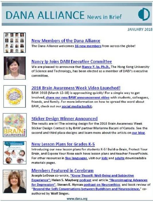 Dana Alliance News-In-Brief Jan 2018 Cover