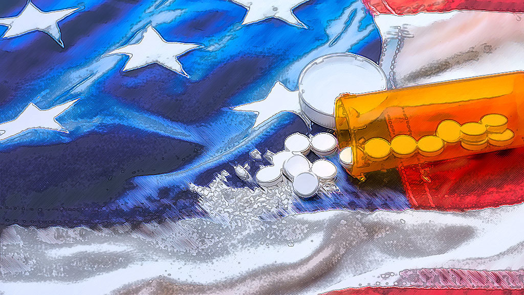 cartoon pills spilled onto a US flag