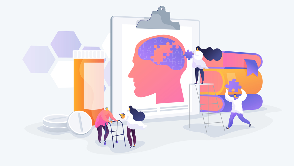 cartoon little people putting a brain puzzle together