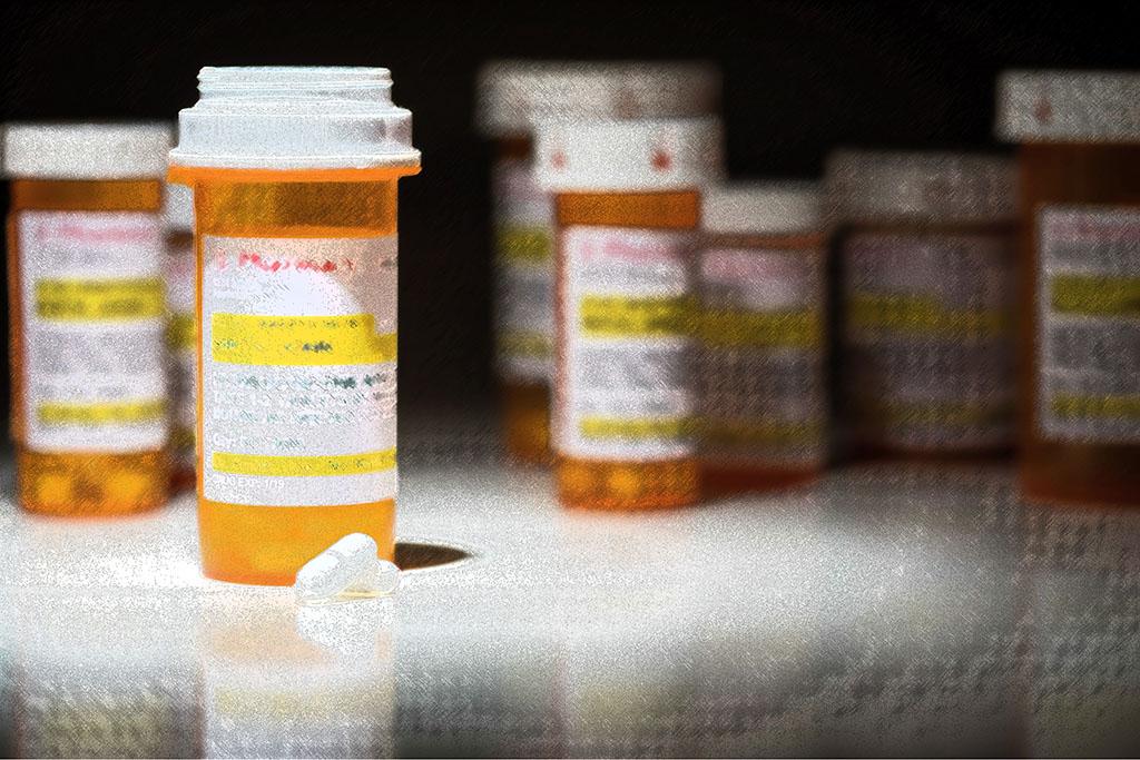 filtered pill bottles on table