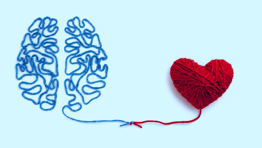 brain made of yarn connecting thread to heart made of yarn