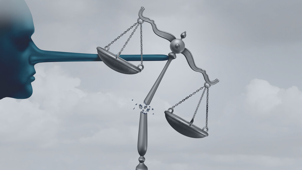 illustration of face with exaggerated long nose knocking over scales of justice