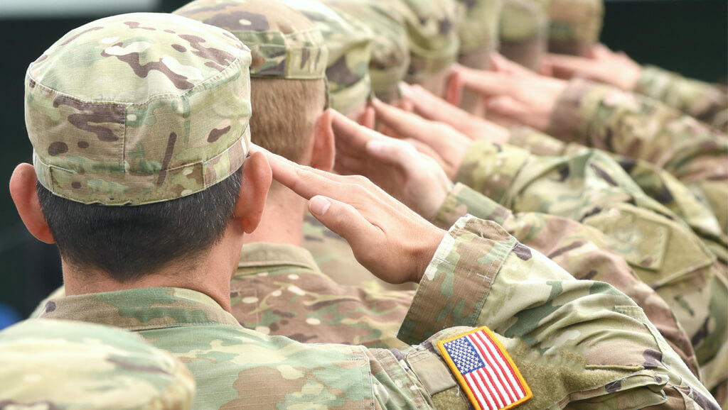 US Army soldiers saluting