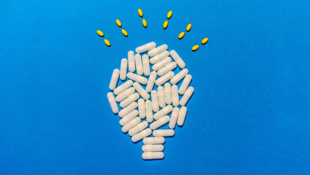 lightbulb made of pills