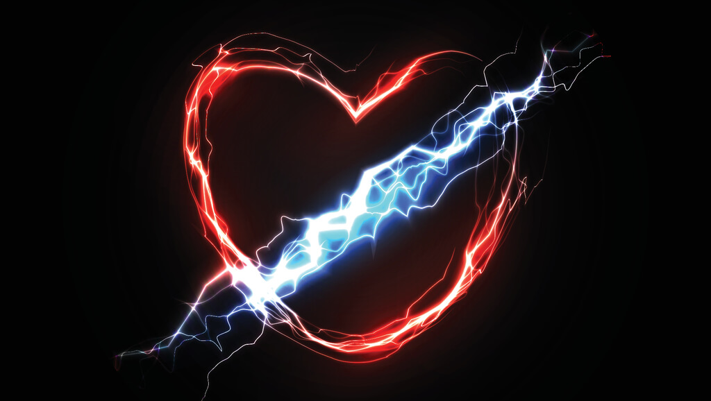 heart made of electrical currents with bolt going through