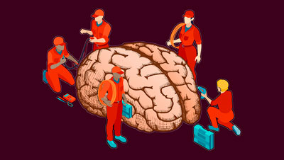 cartoon of workers managing a brain