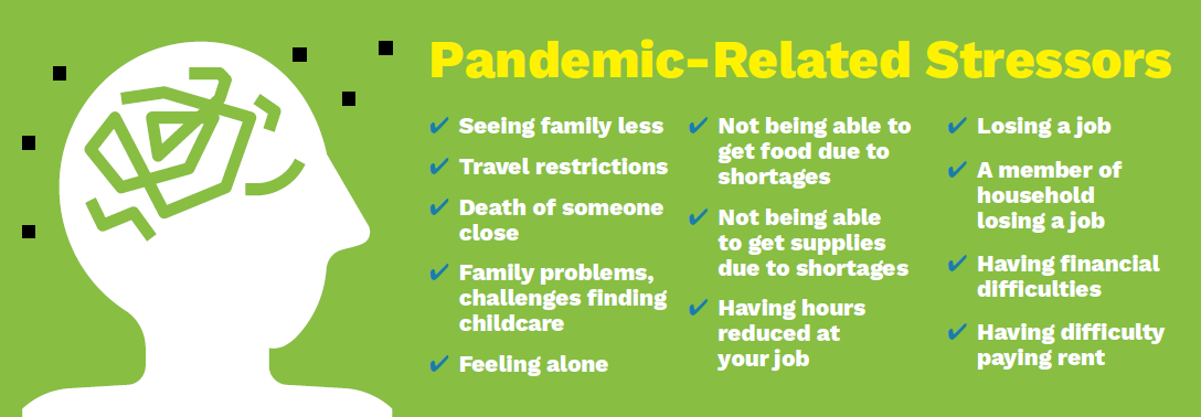 graphic list of pandemic -related Stressors
